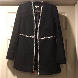 Bar III black jacket with white trim.